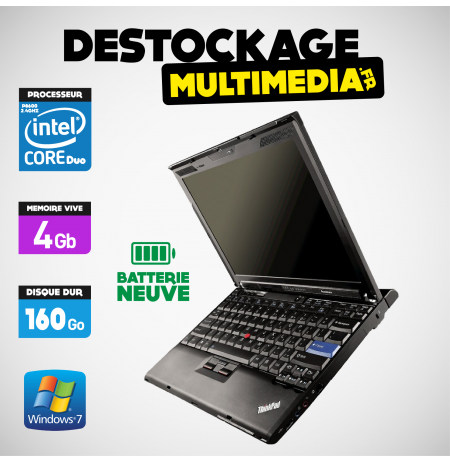 LENOVO THINKPAD X200 CORE 2 DUO P8600 2.4GHZ 4GB 160GO WINDOWS XP Ou 7 Batterie Neuve