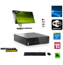 Pc complet Lenovo thinkcentre Ecran 20 pouces m72e Core i3 2120 3.3ghz 4gb 250gb DVD rw sff