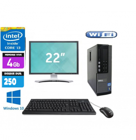 Pc Complet Dell Optiplex 790 Avec Ecran 22 pouces DELL core i3 2120 3.3GHZ 4Go 250Go Windows 7 ou 10 Word Excel Wifi