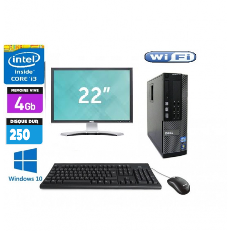 Pc Complet Dell Optiplex 790 Avec Ecran 22 pouces DELL core i3 2120 3.3GHZ 4Go 500Go (Neuf) Windows 7 ou 10 Word Excel Wifi