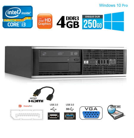 PC HP Compaq 6300 SFF I3-3220 RAM-3.3-GHZ 4Go Disque 250Go Graveur DVD Wifi Windows 10