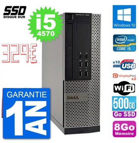 Pc Dell optiplex 7020 sff intel core i5 4570 ram 8go ssd 500 go wifi rs232 windows 10