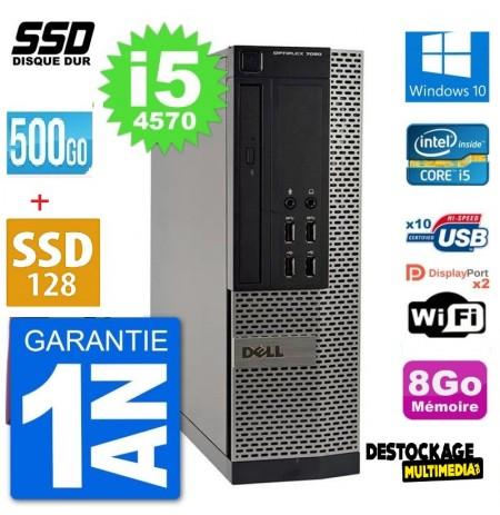 PC DELL OPTIPLEX 7020 SFF INTEL CORE I5 4570 RAM 8GO SSD 128 GO 500 GO HDD WIFI RS232 WINDOWS 10