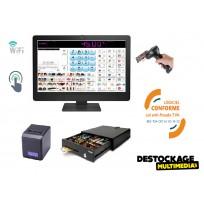 Pack caisse enregistreuse tactile 20 pouces tous commerces avec logiciel au norme