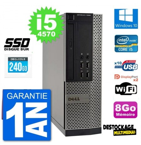 Pc Dell optiplex 7020 sff intel core i5 4570 ram 8go ssd 500 go rs232 windows 10
