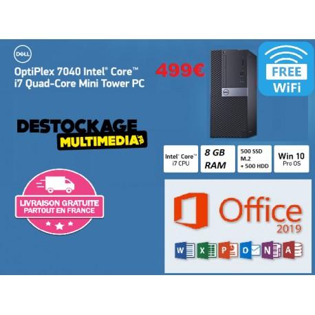 DELL OptiPlex 7040 MT Core i7-6700 8GB 500GB SSD M.2 + 500 GO HDD DVDRW Wifi Win 10 Pro Office 2019