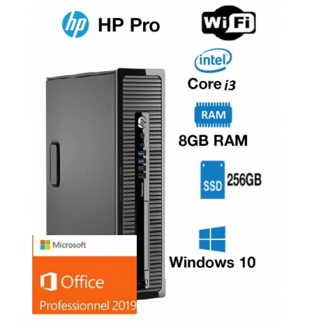 hp prodesk 400 G1 core i3 4130 3.4 ghz 256 ssd go 8 gb wifi windows 10 pro office 2019 pro