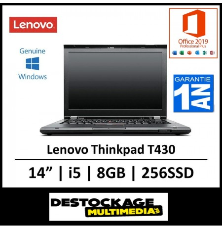 Lenovo ThinkPad T430 - 14'' HD -Intel Core i5-3320M / 2.60 GHz - RAM 8 Go - SSD 240 Go -Windows 10 Pro Office 2019