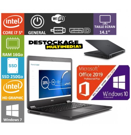DELL Latitude E7450 Intel Core i7-5600U 2.60 GHz 8 Go 256 Go SSD 14 FHD LED HDMI Webcam WiFi Windows 10 Office 2019 plus