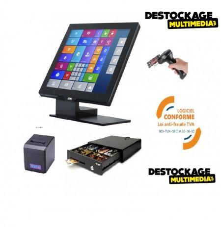 PACK CAISSE ENREGISTREUSE TACTILE AURES YUNO DISQUE DUR SSD LOGICIEL CERTIFIE CONFORME