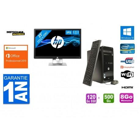HP Pro 3500 MT Core i5 -3470 3.2GHz 8 Go RAM 120 SSD + 500 Go HDD Wifi Win 10 Pro Office 2019 Plus