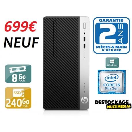 HP ProDesk 400 G6 MT i5-9500 8 Go 256SSD DVDRW USB3 Wifi W10Pro Neuf
